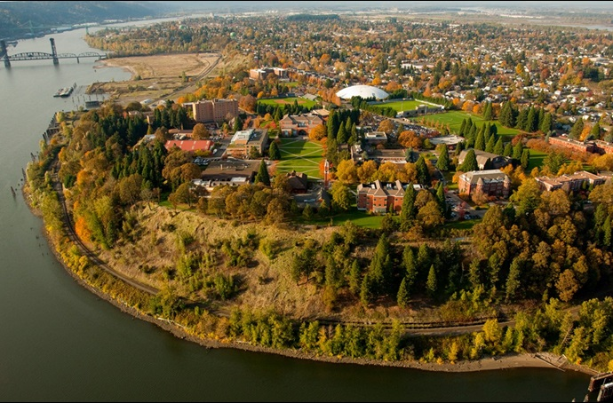 Aerial image of University of Portland and the Willamette River.